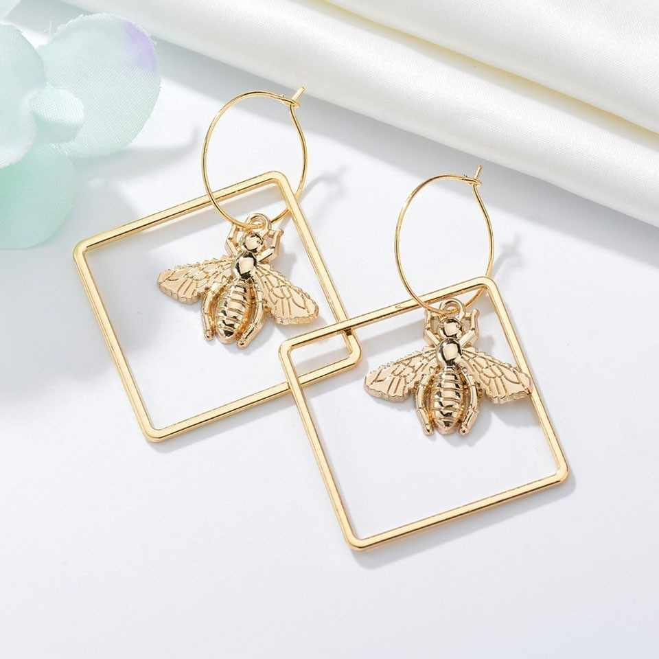 Hot Sale Handmade Square&Insect Big Earrings Jewelry Women Trendy Individuality Earrings High Quality Party  Earrings Gold
