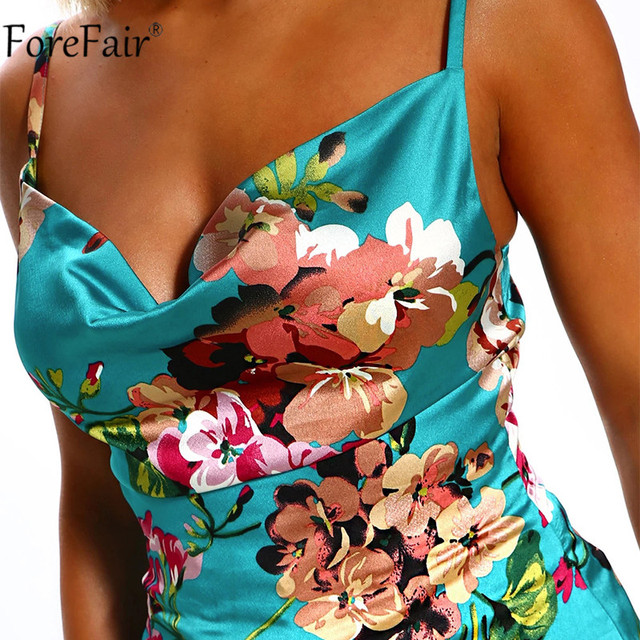 Forefair Spaghetti Strap Flower Print Top Satin Sexy Summer Party Women Cami Sleeveless Backless Fashion Ladies Clothes 6