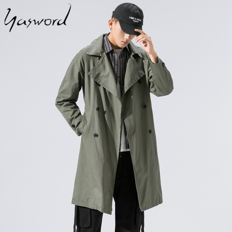 Yasword Cotton Trench Coat Men Autumn Winter Mens Brand Jacket Windbreaker Male Overcoat Casual Solid Slim Collar Coats Outwear
