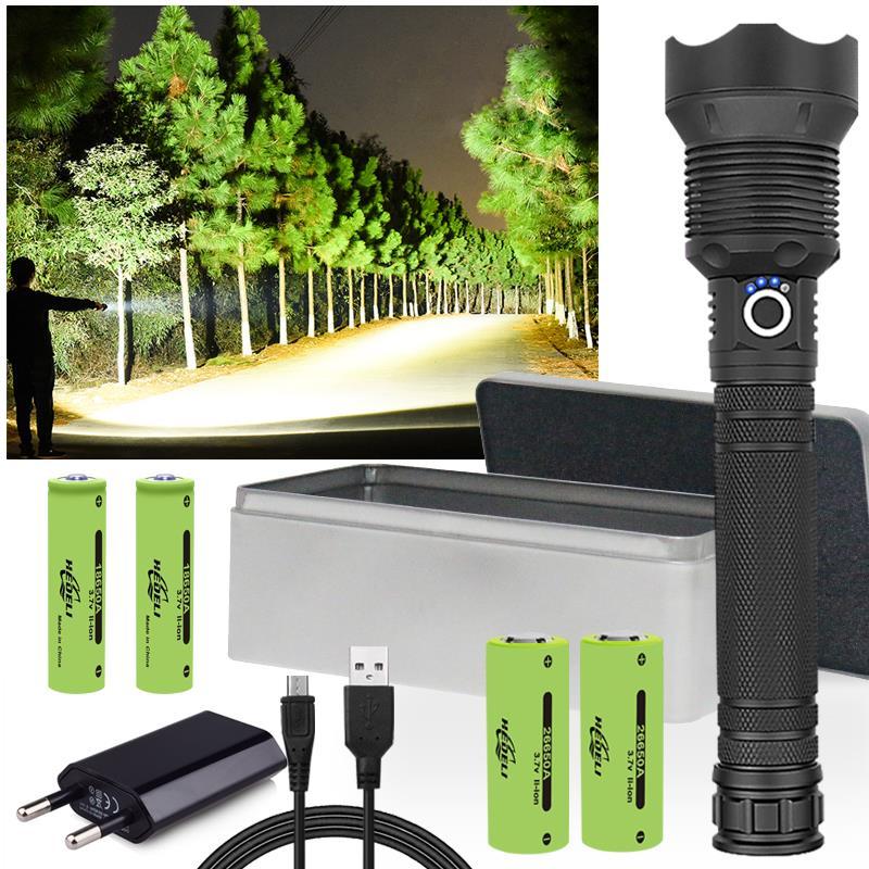 90000 lumens XLamp xhp70.2 most powerful led flashlight usb Zoom torch xhp70