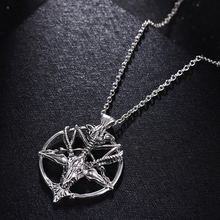 Pan God Skull Necklace Fashion Vintage Women Men Pentagram Goat Head Pendant Chain Unisex Luck Alloy Retro Necklace Jewelry