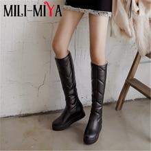 MILI-MIYA High Female Winter Warm Snow Boots Top Quality Plus Big Size Knee-High
