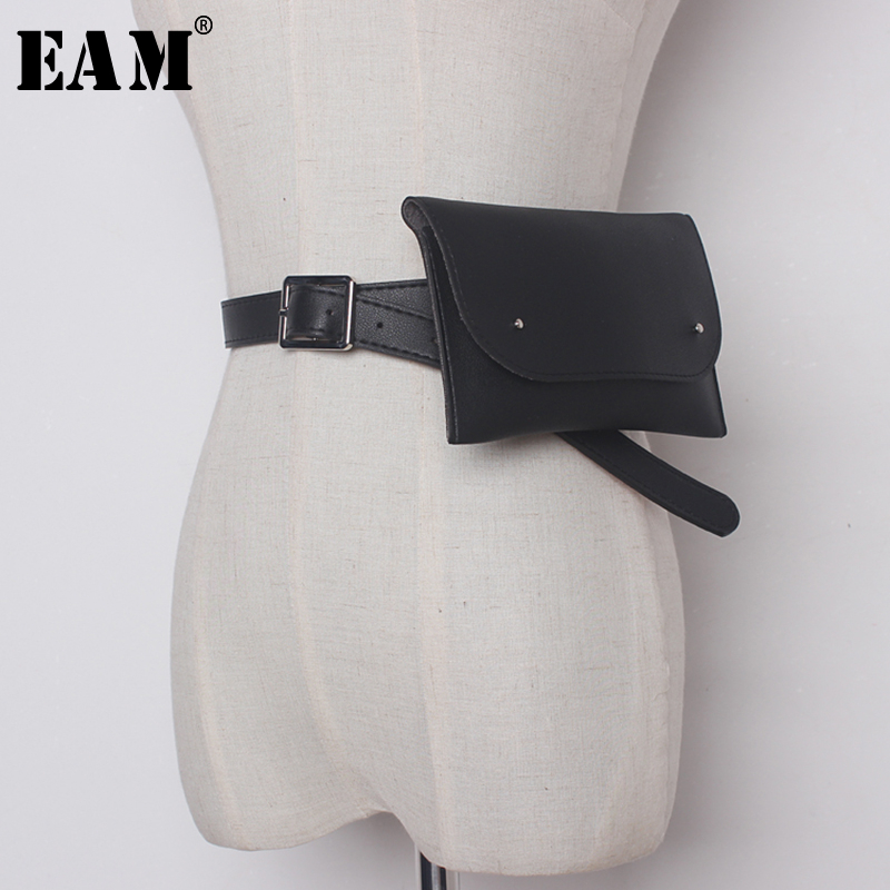 [EAM]  Pu Leather Black Mini-bag Split Joint Long Wide Belt Personality Women New Fashion Tide All-match Spring 2020 JC898