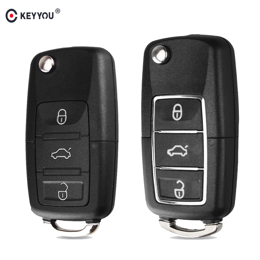 KEYYOU Flip Folding Car Key Shell Fob Case For Volkswagen Vw Jetta Golf Passat Beetle Polo Bora 3 Buttons Remote Key Fob Case