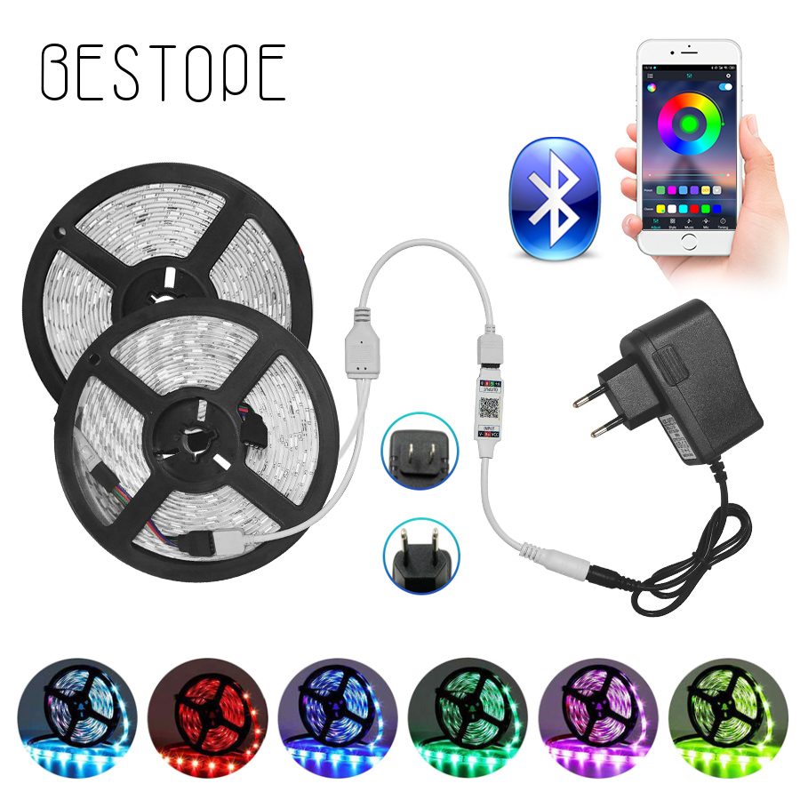5050 30Leds Bluetooth LED Strip RGB Led Light Tape 5m 10m DC12V Waterproof LED Light Diode Ribbon Flexible With Bluetooth Remote