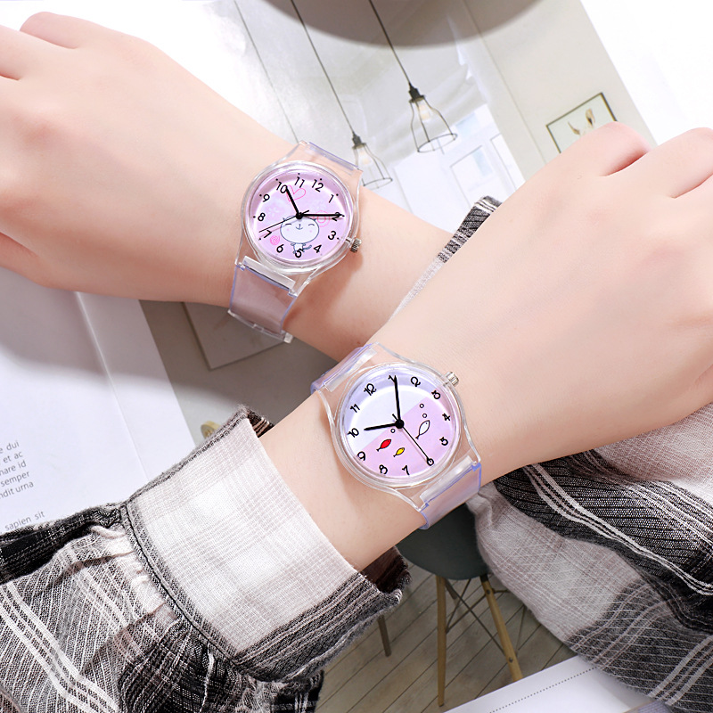 Children's Cartoon Watch Fashion Cat Baby Hour Safety Silicone Watchband Kids Clock Waterproof Boy Transparent Student XX3067