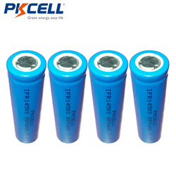4x PKCELL Lifepo4 3.2V 14500 Rechargeable Lithium ion Battery AA 600MAH IFR14500 for Solar Panel Light, Tooth Brush, Shaver