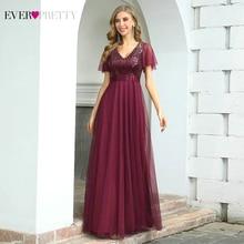Вечерние платья Бургундия всегда довольно EP00542 элегантные линии V шеи оборками рукава блестками длинное вечернее платье Vestidos де Noche