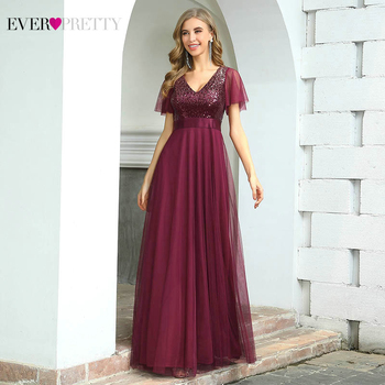 Burgundy Formal Dresses Ever Pretty EP00542 Elegant A Line V Neck Ruffles Sleeves Sequined Long Evening Dress Vestidos De Noche navy blue satin evening dresses ever pretty ep07934nb a line v neck elegant formal long dresses vestidos de fiesta de noche 2020
