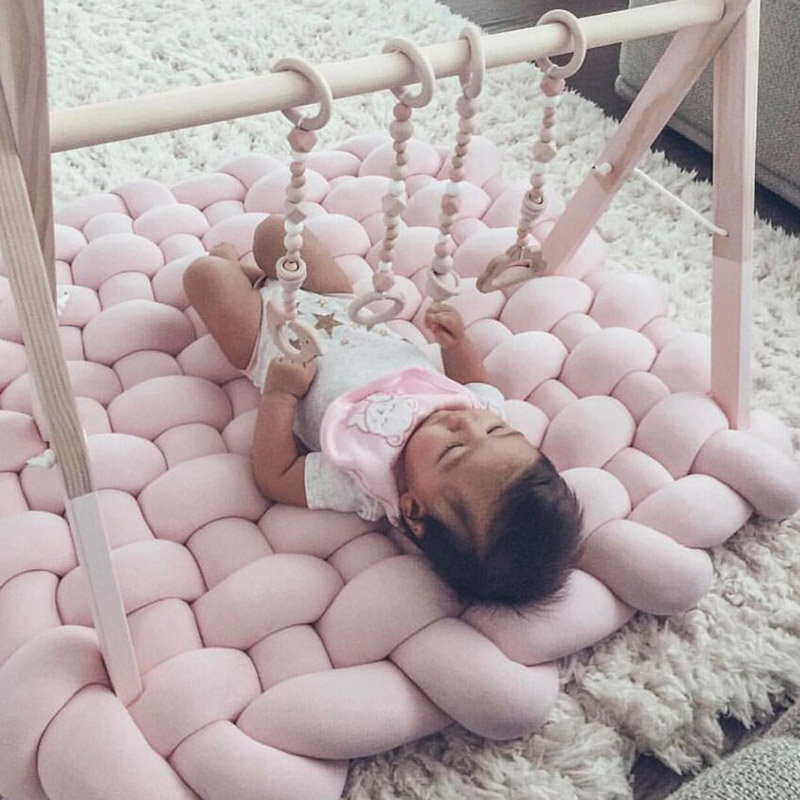 New 85*70cm Hand-woven Cushion Baby Crawling Cushion Non-slip Baby Play Mats Cushion Newborn Toy Blanket