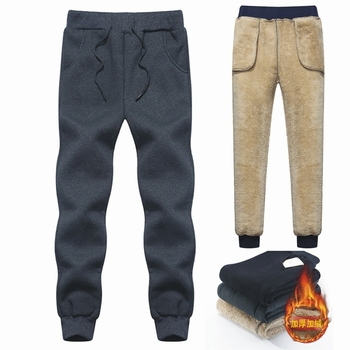 Brand Men's Wool Pants Velvet cashmere Pants Men Thick Fleece joggers Winter Super Warm Pant Heavyweight Trousers Men Sweatpants 1