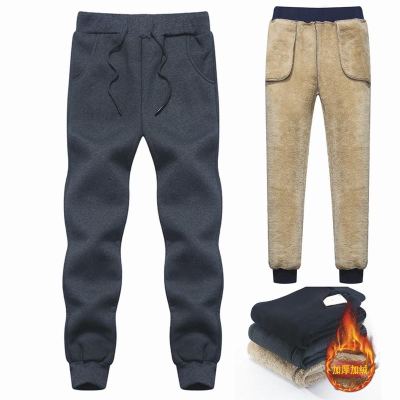 Brand Men's Wool Pants Velvet cashmere Pants Men Thick Fleece joggers Winter Super Warm Pant Heavyweight Trousers Men Sweatpants