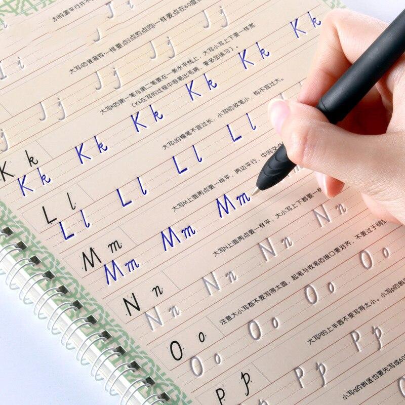 Italian Style Reusable English 3D Groove Calligraphy Copybook Liu Pin Tang Erasable Pen Learn Words Adults Kids Art Writing Book