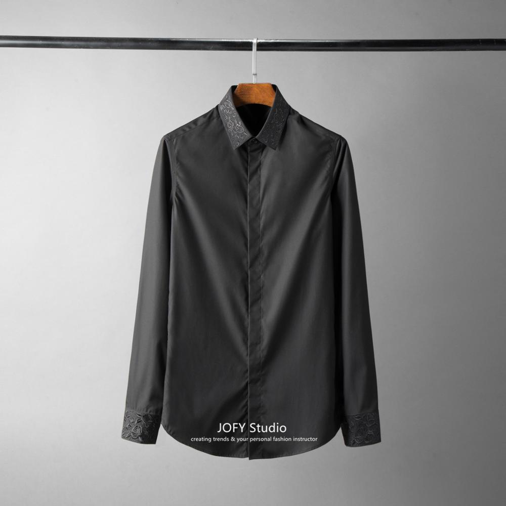 ¡38 48! nuevo cuello de alta densidad camisa bordada Lisa moda europea y americana camisa de negocios hombre - 3