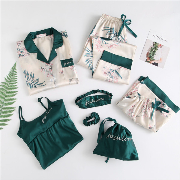 Imitated Silk Fabric Seven Sets Pajamas Korean-style Lily With Chest Pad Seven Sets Of Homewear Set