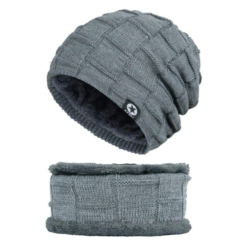 Зимняя мужская шапка с пятизвездочными звездами, шарф плюс бархатная мужская вязаная шапка, Теплая Лыжная маска, маска, головной платок, шапка, высококачественный хлопковый нагрудник, модная новинка - Цвет: Gray-1