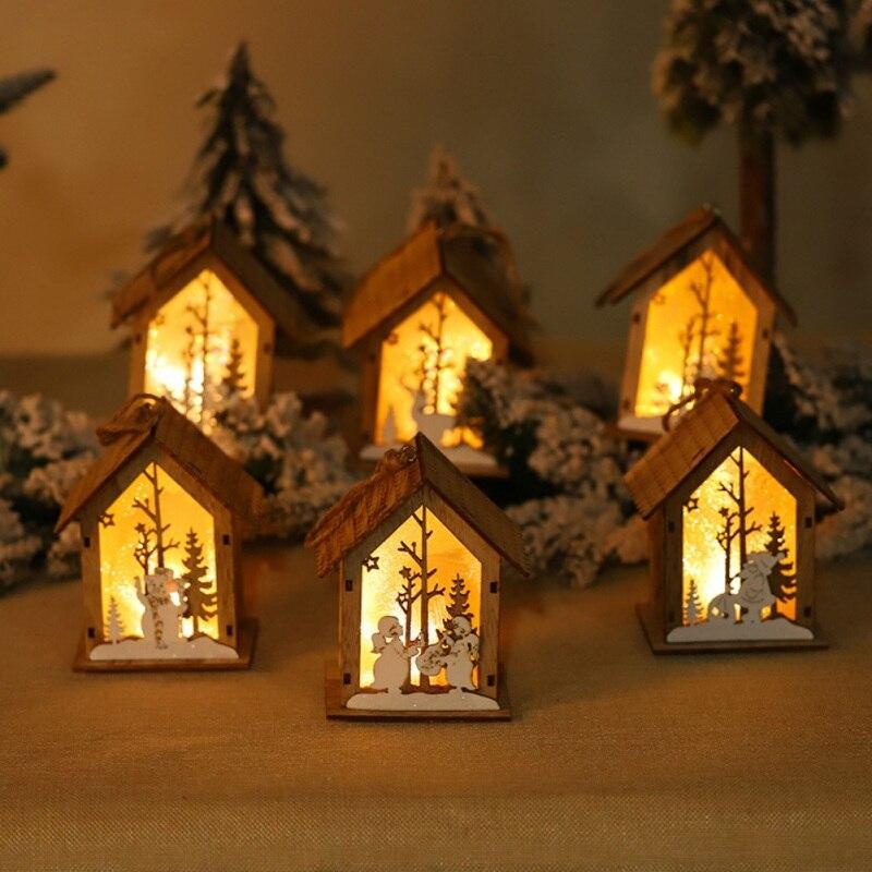 Рождественская Деревянная Рождественская освещенная сборка маленького домика Рождественская елка украшения светящийся домик висячий кулон Декор