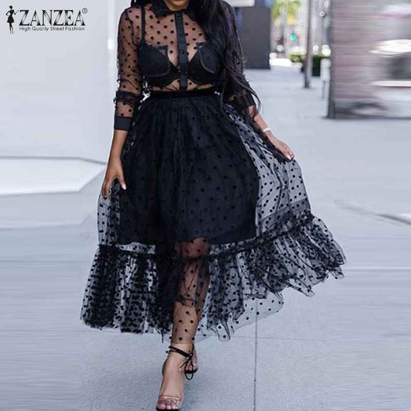 ZANZEA Zomer Sexy Transparant Kant Mesh Sheer Vrouwen Jurk Ruches Zoom Stip Zonnejurk Casual See Through Black Vestido Robe7