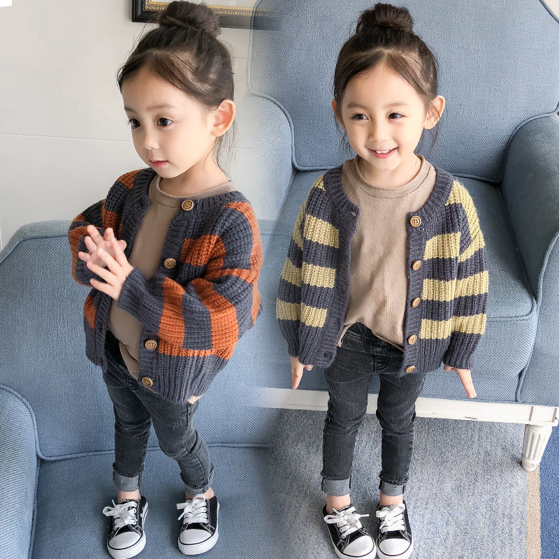Baby Girls Knitted Cardigan Sweater New Autumn Fall Children's Striped Knitwear Baby Kids Lovely Casual Loose Sweaters