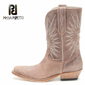 Prova Perfetto Retro Block Heel Winter Boots Women Genuine Leather Mid-calf Chaussures Femme Comfortable Leather Feminina Botki