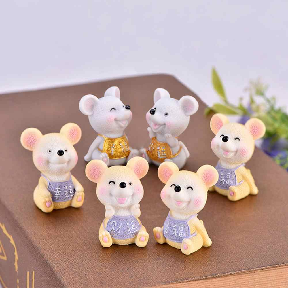 Chinese New Year Lucky Money Fortune Cartoon Mouse Figurine DIY Mini Bonsai Fairy Garden Decor Craft DIY Ornament Statue Desktop