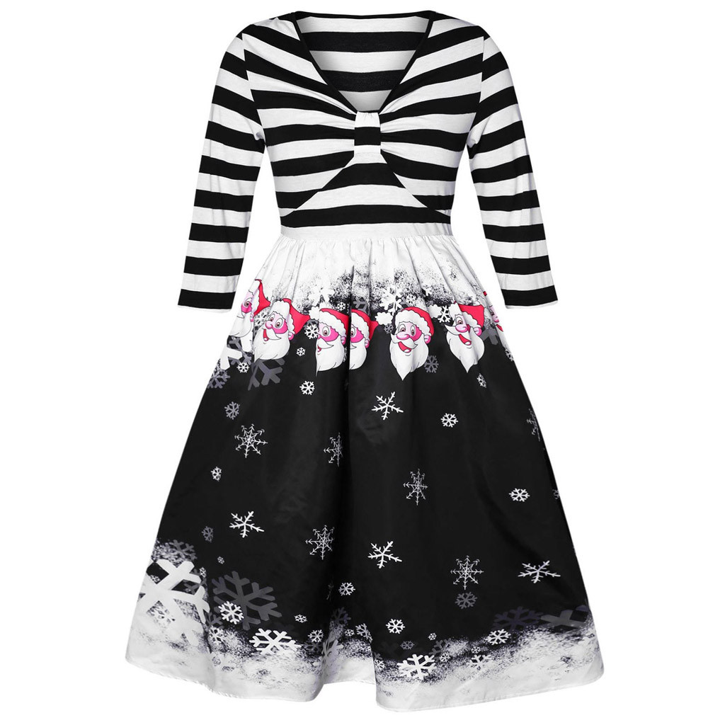 Women Dresses Christmas Dress Carnival Costume Clothes Robe Femme V-neck Bow Vintage Snowman Gift Print Dress Vestidos Mujeres