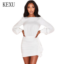KEXU Bandage Party Dresses New Arrivals White Bodycon Solid Color O Neck Puff Sleeve Pleated Sexy Backless Temperament Dress
