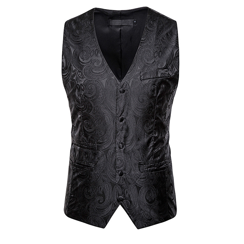 Suit Vest Wedding Waistcoat Formal-Dress Paisley Black Chaleco New Fashion Autumn Jacket