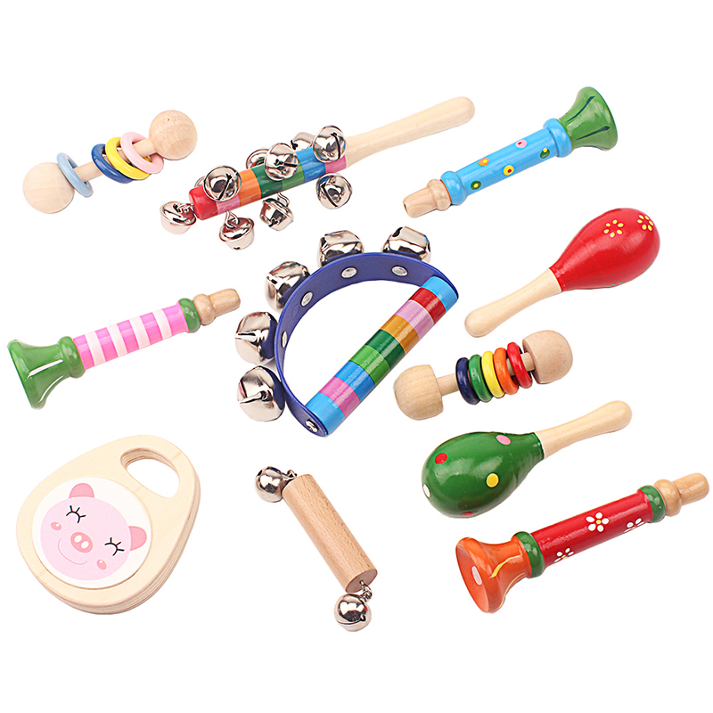 Toddler Infant Wooden Music Vocal Toys Set Rattles & Mobiles Toy Early Developmental Baby & Toddler Toys Gift for New Born Baby