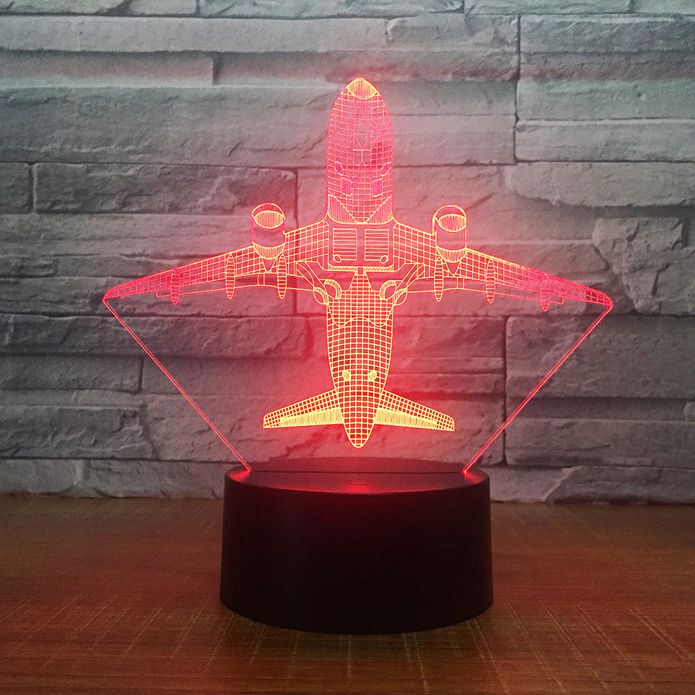 Aircraft 3D Led Home Decor 7 Color Changing Usb Table Lamp Usb Bedroom Bedside Light Fixture Air Plane Night Light Gifts