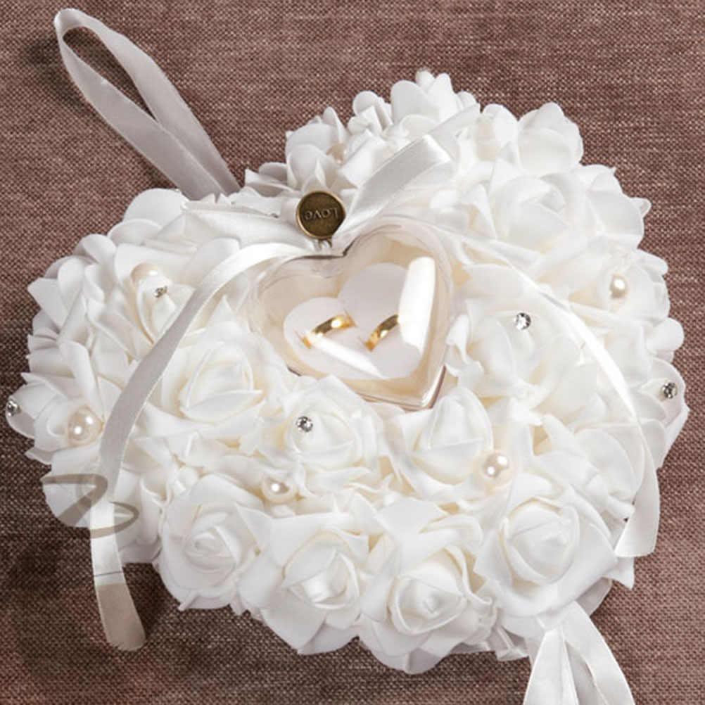 В форме сердца коробка для колец розы Украшенные кольца Подушка Чехол ювелирных