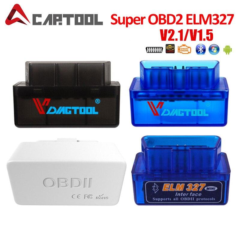 Ferramenta de diagnóstico super obd2 elm327 obd2 varredor v1.5 trabalhos de ferragem android/pc mini elm 327 interruptor leitor de código bluetooth hhobd