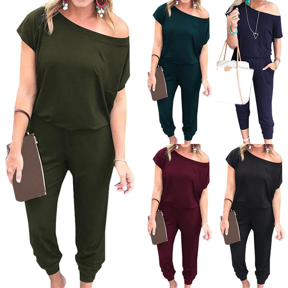 Jump Suits For Women Summer Short Sleeve Comfy Jumpsuits Ladies Oblique Shoulder Bodysuits Female Loungewear Monos Mujer
