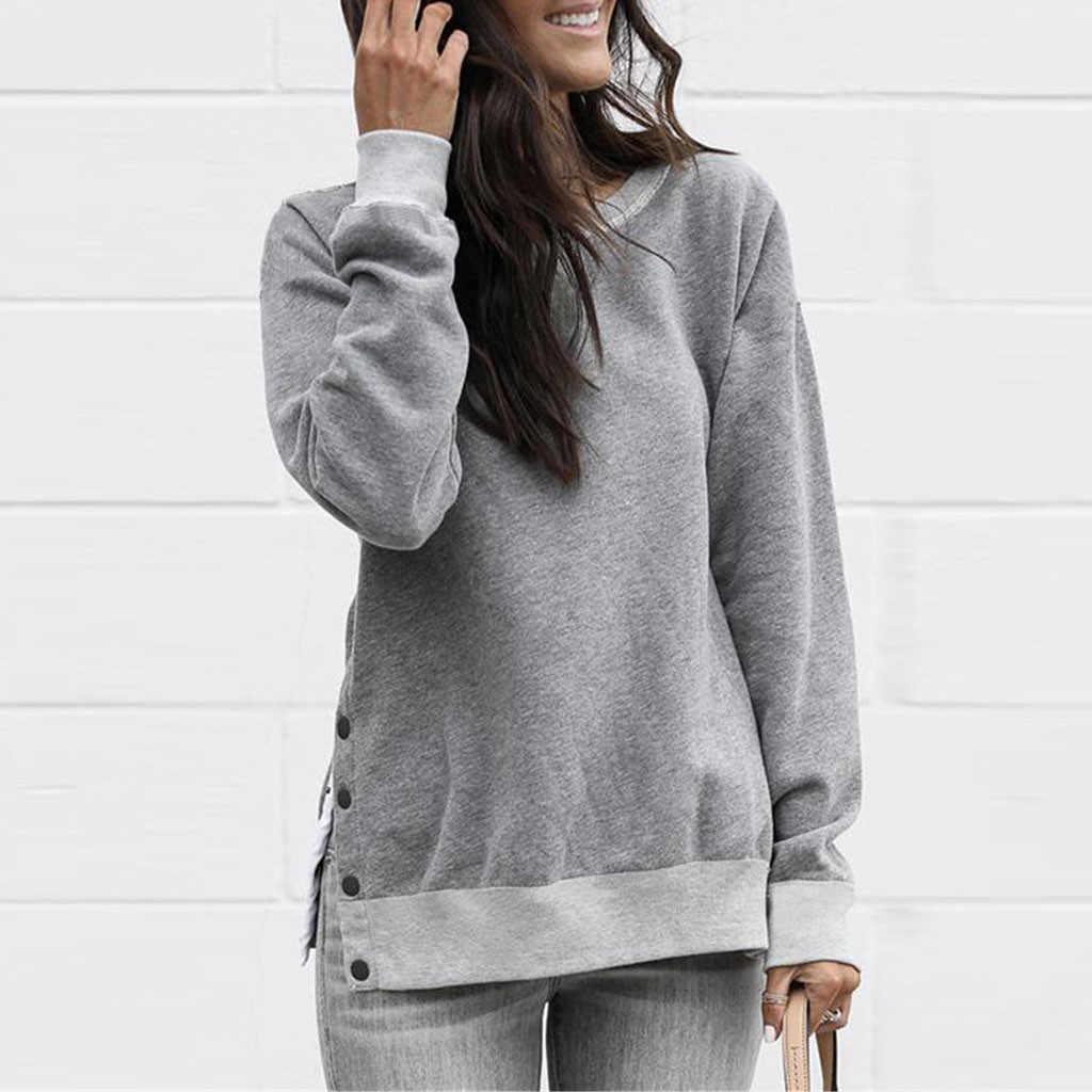 2020 untuk Wanita O Leher Lengan Panjang Sweatshirt Pullover Atasan Kemeja Kpop Pakaian Invierno Mujer Wanita Tops Musim Gugur Wanita Hoo