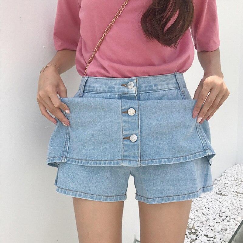 Zi Yi New Style Korean-style Stripes Street Denim Skirt Women's Joint Single Breasted High-waisted Slimming Denim Skirt Wholesal