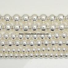 Perline di pietra di ematite naturale placcata argento brillante 4 6 8 10 MM 15