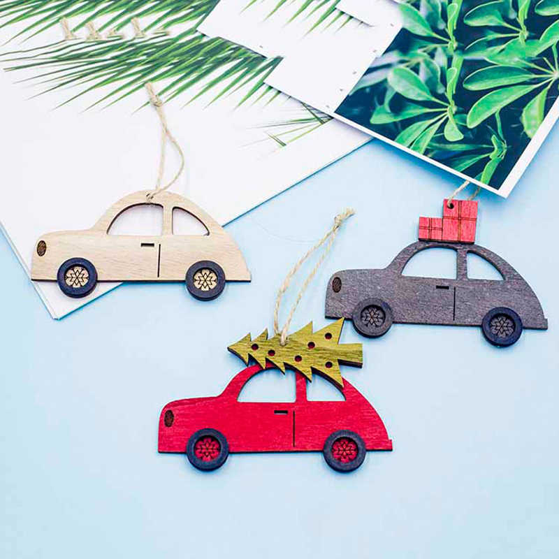New Year Natural Wood Christmas Tree Ornament Wooden Hanging Pendants Gifts Snow Note Car Christmas Decora Adornos De Navidad