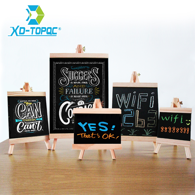 5 Styles Mini Chalkboard Destop Blackboard Pine Wood Frame Table-top Black Board With Easel  For Memu Drawing Bulletin Boards