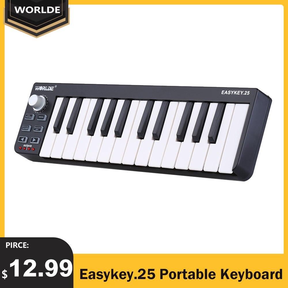 Worlde Easykey.25 портативная мини-клавиатура 25 клавиш USB MIDI контроллер MIDI-клавиатура
