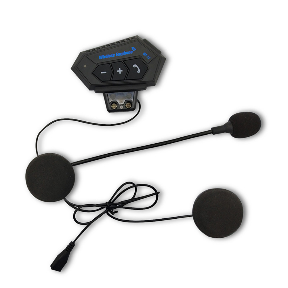 BT-12 Motorcycle Interphone Stereo With Microphone Riding Helmet Headset Intercom Hands Free Bluetooth Outdoor Music Portable