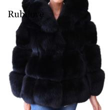 Rubilove Women Winter Jacket Coat Long sleeve collar Luxury Faux Fox Fur  Warm Outwear With hooded
