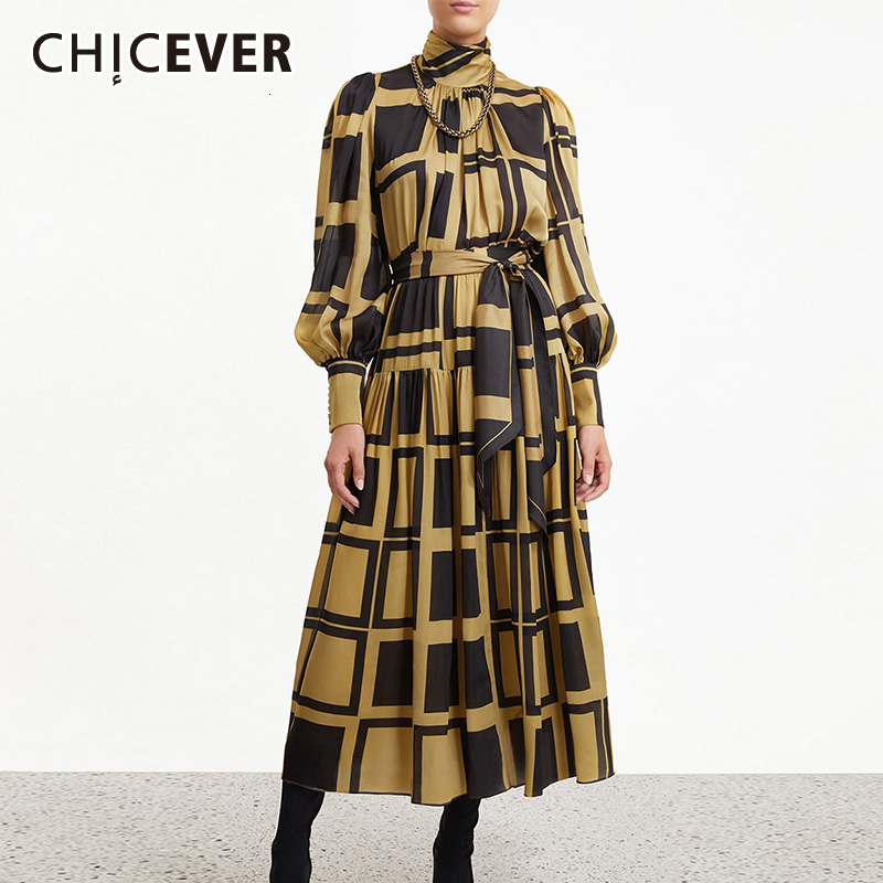 CHICEVER Plaid Two Piece Sets Women Turtleneck Lantern Sleeve Blouse High Waist Lace Up Bowknot Skirts Female Suits 2019 Fashion
