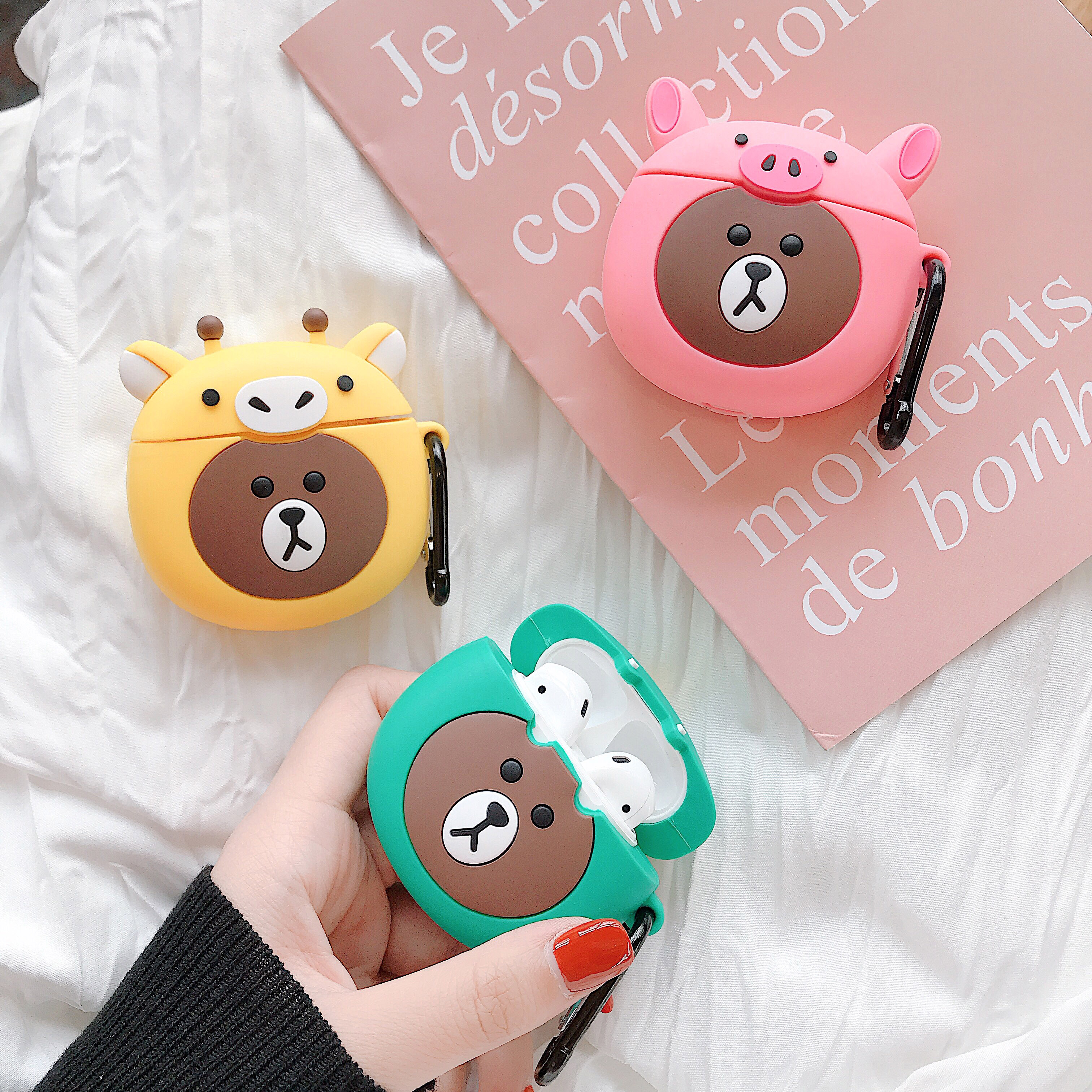 Cute Cartoon For AirPods Case 3D Pattern Earphone Apple Airpods 2 Soft Silicone Protect Cover