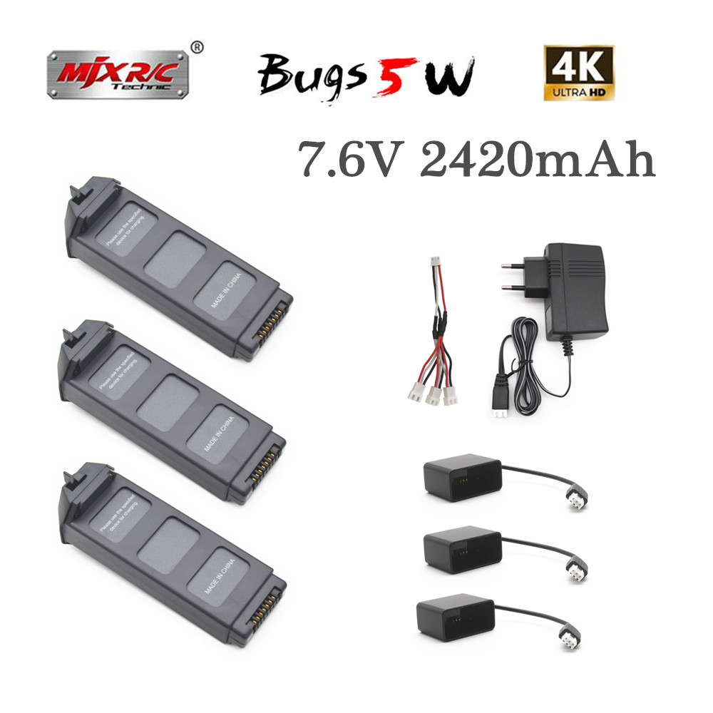 Upgrade 7.6V LiPo Battery For MJX R/C Bugs 5W B5W 4K  RC Quadcopter Spare Parts 7.6v 2420mAH Drone Battery For X5 Pro