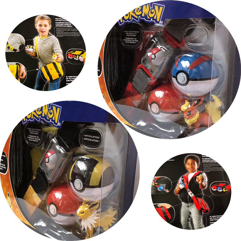 Original Pokemon Toys Pokeball With Belt Action Figure Model Toys Retractable Belt Gifts For Children Kids Toys In Box