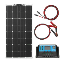 mono solar cell 100w 200w flexible solar panel kit 10A/20A solar charge controller 12v solar panels for camping car home roof