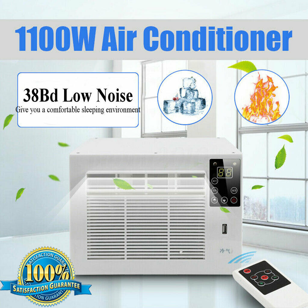 1100W Portable Air Conditioner Cold/Heat Dual Use 24-hour Timer 110V/AC 2 Gear Lighting LED Control Panel With Remote Control