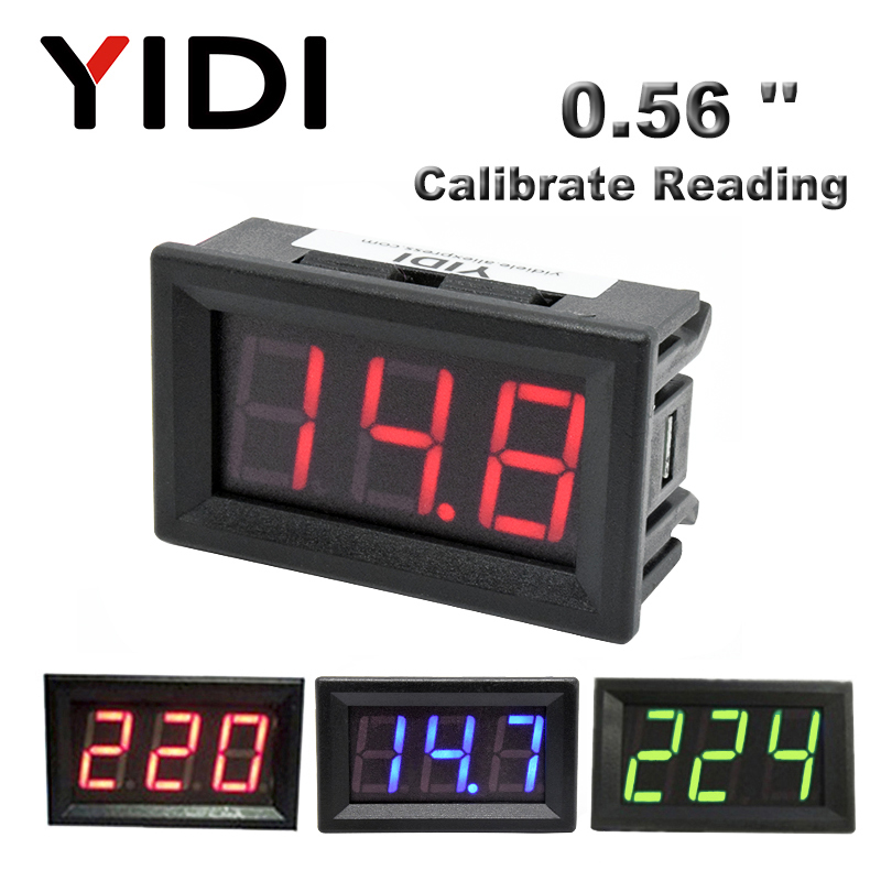 AC 30-500V AC 0-600V 0.56'' Digital Voltmeter Calibrate Reading DC 3.5-30V DC 0-100V Red Green Blue LED Display Voltage Meter