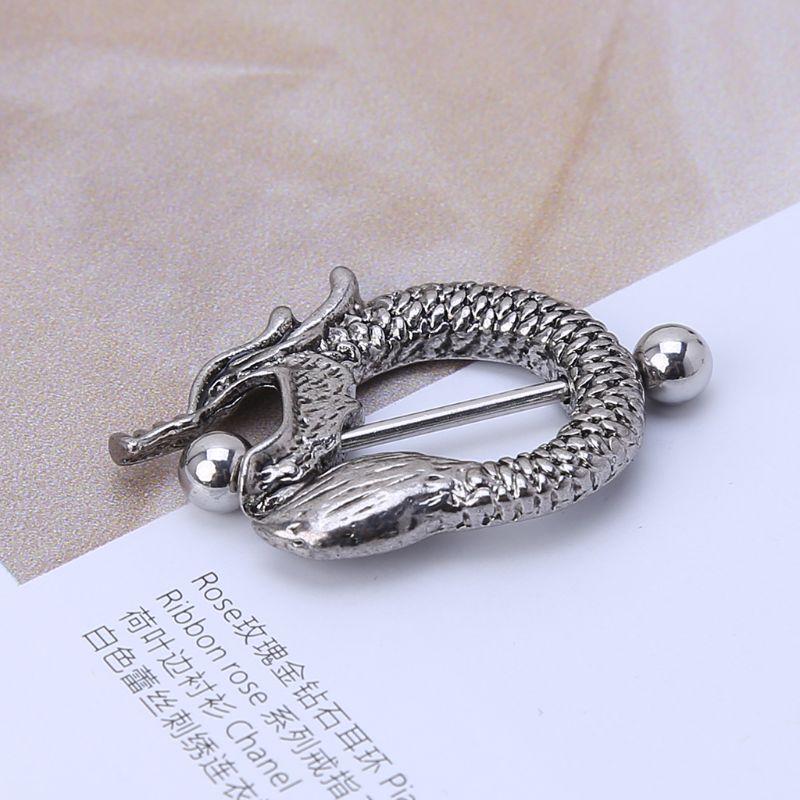 Bar Surgical Steel Dragon Nipple Shield Ring Piercing