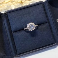 S925 sterling silver rotating flower ring with micro zircon wedding ring for women